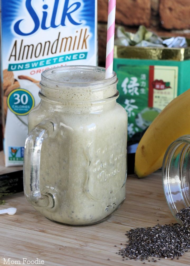Green Tea Chia Smoothie - A vegan power beverage, with plenty of fiber, energizing green tea, protein from chia and calcium from almond milk