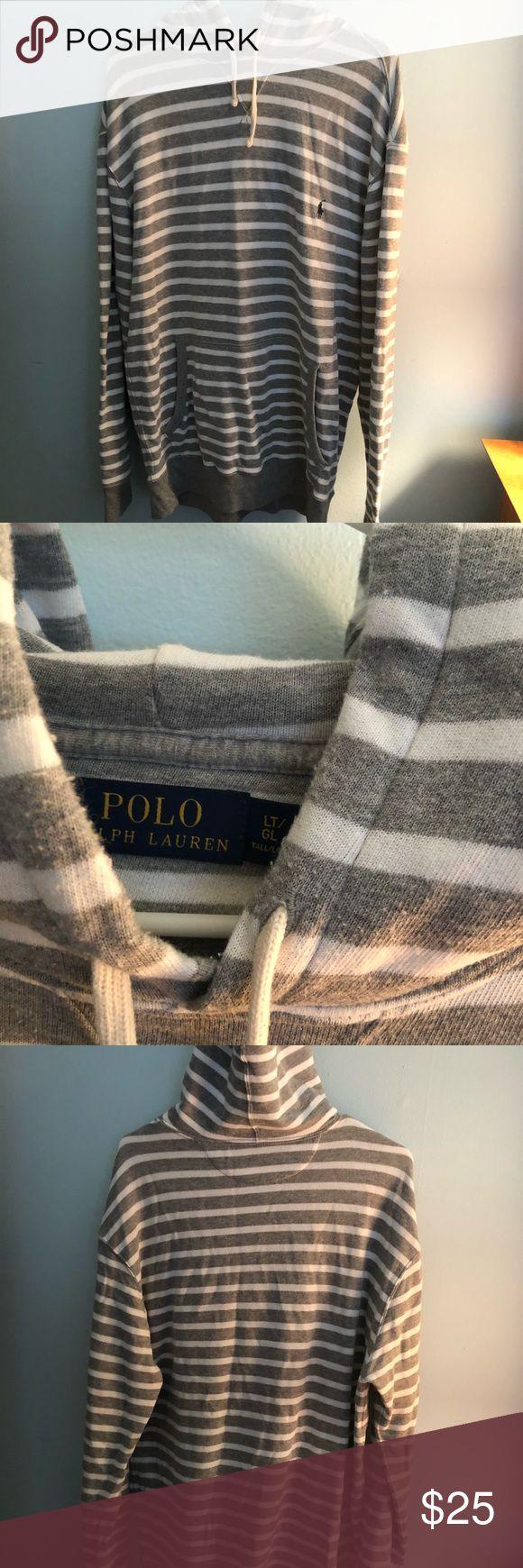 Men's striped polo Ralph Lauren hoodie Men's gray striped polo Ralph Lauren hoodie, worn a few times but in great condition. Polo by Ralph Lauren Shirts Sweatshirts & Hoodies