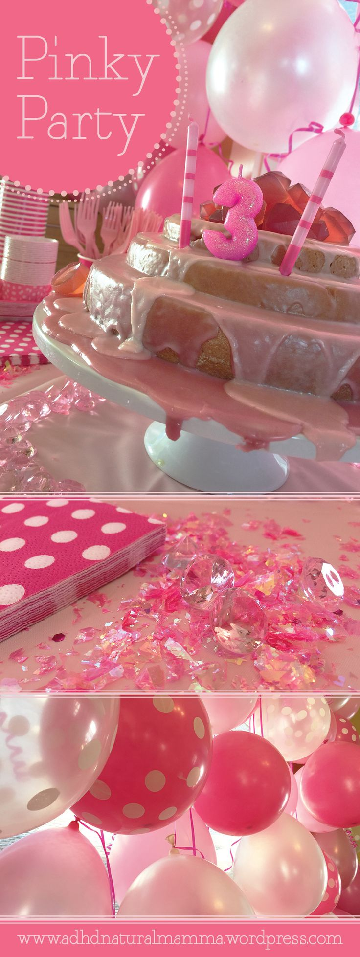 Pink birthday party for girls - colorful celebration without artificial food dyes - page includes helpful links to products and recipes - 3 year old