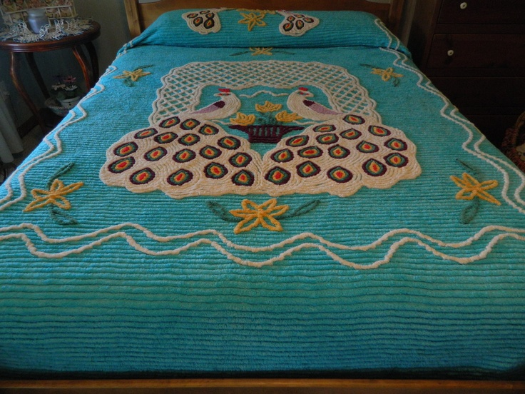 beautiful vintage turquoise chenille bedspread with peacocks - Chenille Bedspreads
