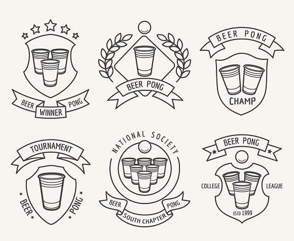 Beer pong line logo set. Sport Icons. $4.00