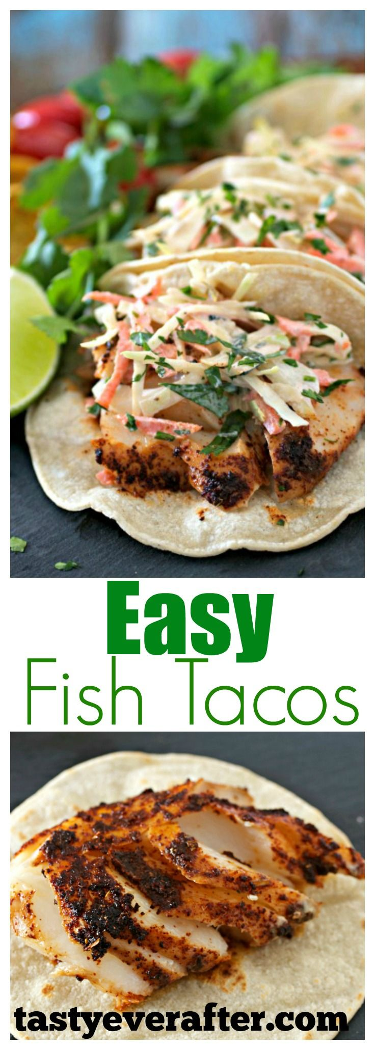 Healthy & delicious, these baked fish tacos are perfect for Taco Tuesday or for lunch or dinner anytime!  #tastyeverafter