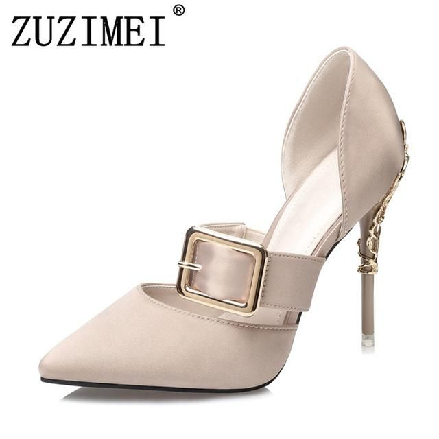 c04ac284bd9 2018 Brand high heels Mary Janes women pumps Fashion pointed toe metal  buckle wedding shoes Spring Summer OL shoes Woman