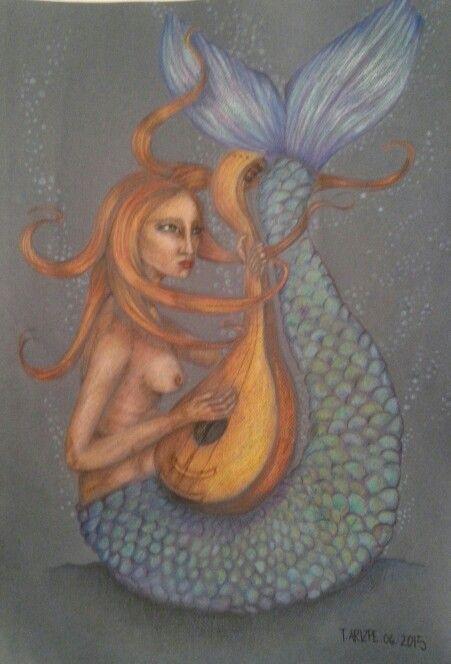 #Ilustracion #lapizacolor #sirena #sirenavaradaenelfondodelmar