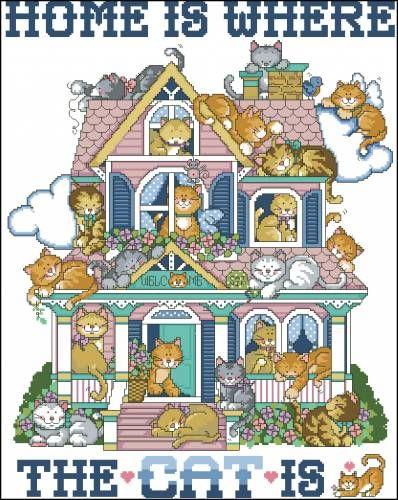 Дом кошек - Домашние кошки <!--if(Схемы вышивки)-->- Схемы вышивки<!--endif--> - Каталог схем - Ларчик рукоделия