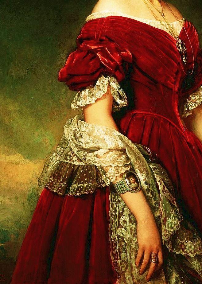 Detalle del retrato pintado en 1841 a Louise d'Orléans, reina de Bélgica entre 1812 y 1850 por Franz Xaver Winterhalter (1805-1873).
