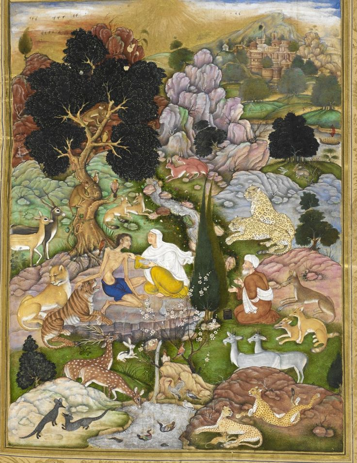 Majnun affectionally strokes a tiger. Commissioned by Akbar, c.1595-6. Artist: Sānvalah. Best viewed at this link: http://a5.typepad.com/6a017ee66ba427970d01b7c7bbf84d970b-pi