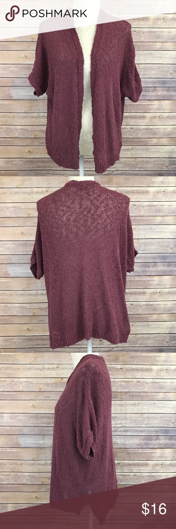 """Sun & Shadow Maroon Open Knit Shawl Cardigan XS E1 Bust: 26"""" Length: 25""""  Condition: No Rips; No Stains  70% Cotton 30% Acrylic   📦I ship orders within 24 Hours! {Except Weekends}📦  🚫No Trades🚫No Holds🚫 Sun & Shadow Sweaters Cardigans"""