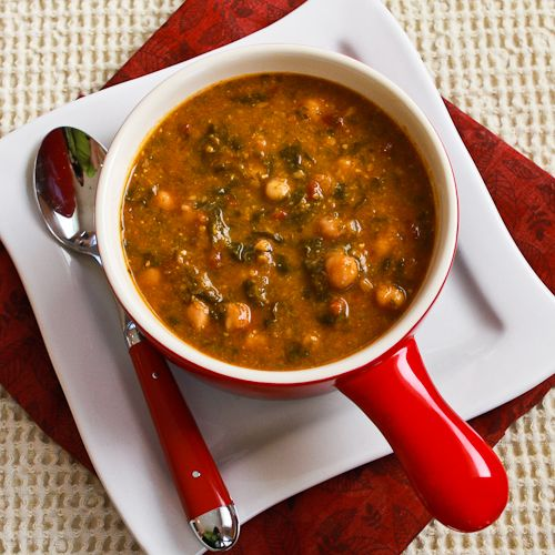 Chickpea (Garbanzo Bean) Soup Recipe with Spinach, Tomatoes, and Basil from Kalyn's Kitchen (a meatless phase one recipe)