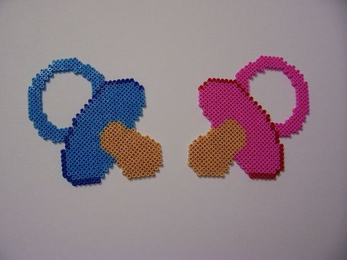 For the new arrivals... Pacifiers Mini hama beads - one large square board (each) - By Shazann