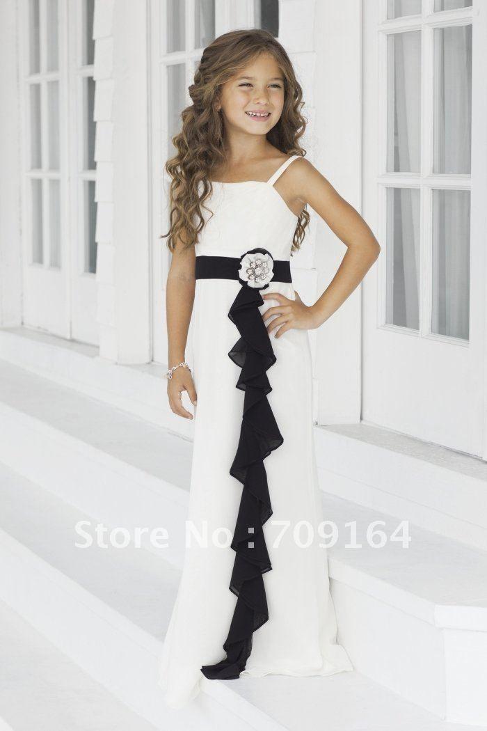 Elegant A Line White Chiffon Dress and Black Sash Flower Junior Bridesmaid Dresses FB134 $126.31
