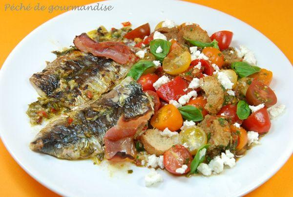 Filets de sardines salade toscane au pain d'après Jamie Oliver