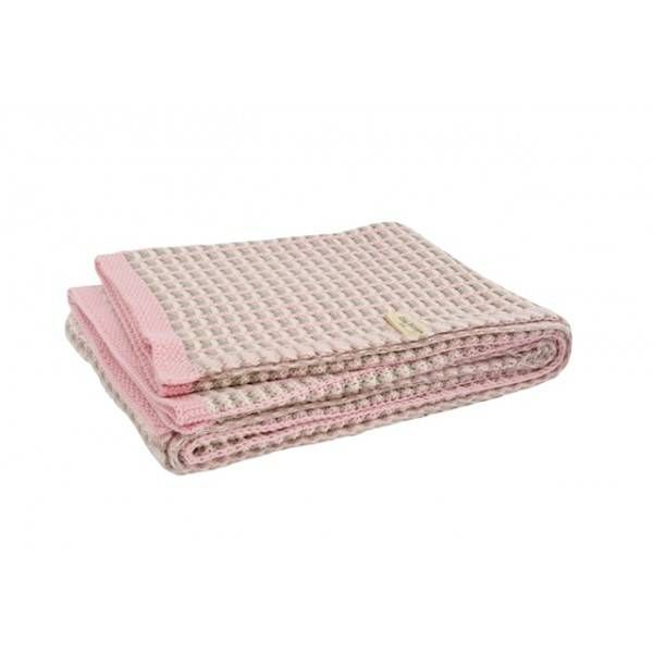 Jollein Little Naturals deken 100x150cm mixed roze/zand/off-white (gratis verzending) - Ikbenzomooi.nl