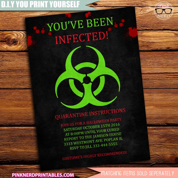 Adult Halloween Party Invitations Part - 44: Infected Halloween Party Invitation Hazard Invite