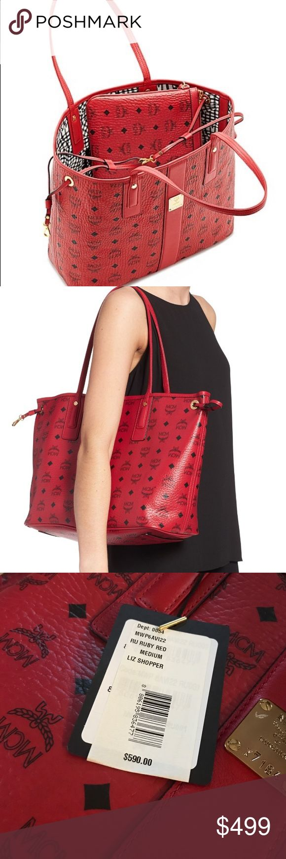 💜authentic mcm NEW liz red tote w pouch This is a brand-new bag with the wrapper still on it. It's the liz medium tote in ruby. The duster is included and the tag is attached. The pouch is also included and still wrapped in tissue. My price is firm. I don't trade. MCM Bags Totes
