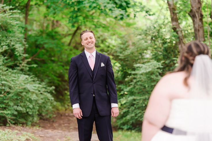 Sweet first look from groom in Tennessee wedding.   Smithview Pavilion | Navy and Blush Wedding