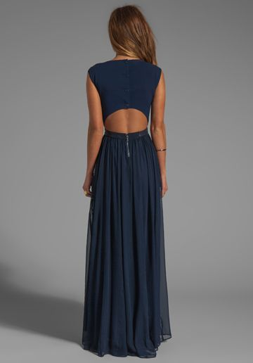 ALICE + OLIVIA Triss Sleeveless Maxi Dress with Leather Trim in Navy - New