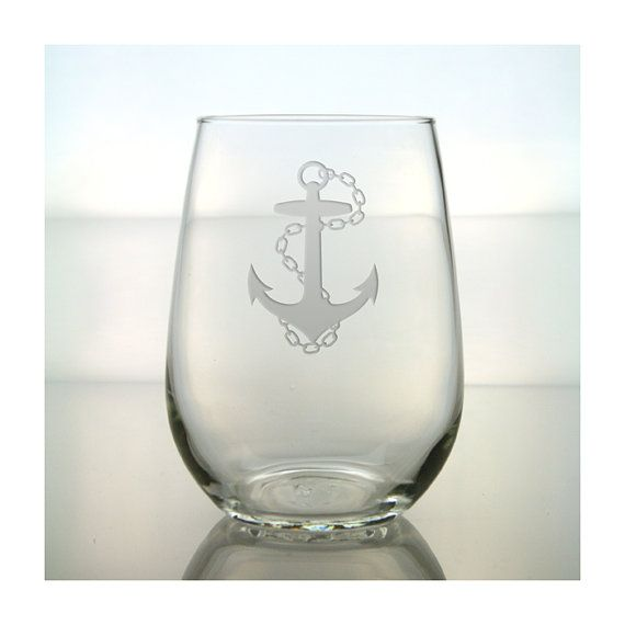 Ancla grabada al agua fuerte el vidrio de vino sin pie / gratis personalización / grabado vidrio de vino