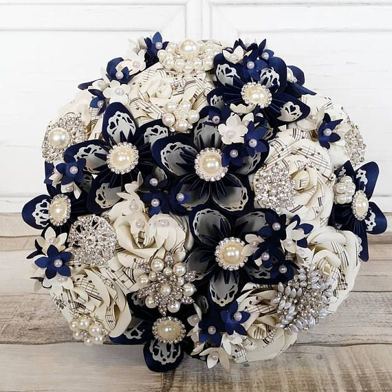 Paper Flower wedding bouquet origami kusudama rose sheet music
