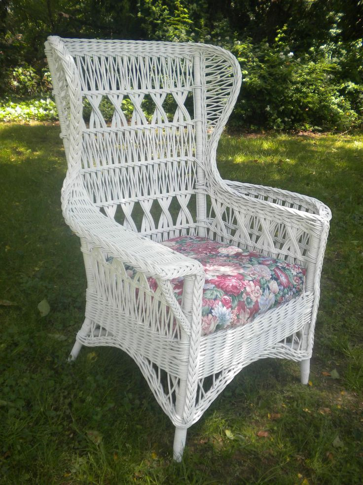 Large Bar Harbor Wicker Wing Chair With Magazine Pocket Circa 1920's