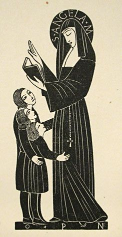 St Angela Merici / bookplate for Elizabeth Angela Gill - wood engraving 1922 - Eric Gill (English 1882-1940)