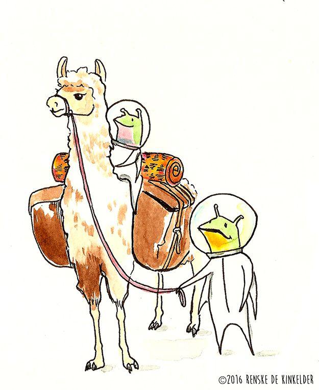 Aliens travelling with a Llama. Watercolor and pen. Renske de Kinkelder