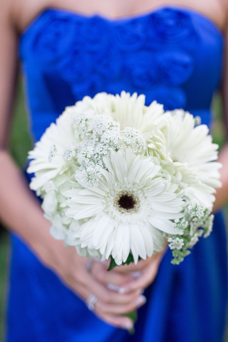 All white gerber daisy and queen anne's lace bouquet