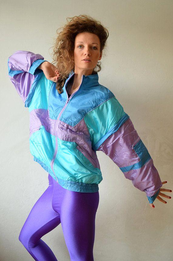 Neon spring windbreaker, Vintage jacket, Women sportswear ...