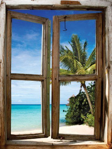 Jp london umb921 bali afternoon beach window wall mural 2 for Beach window mural