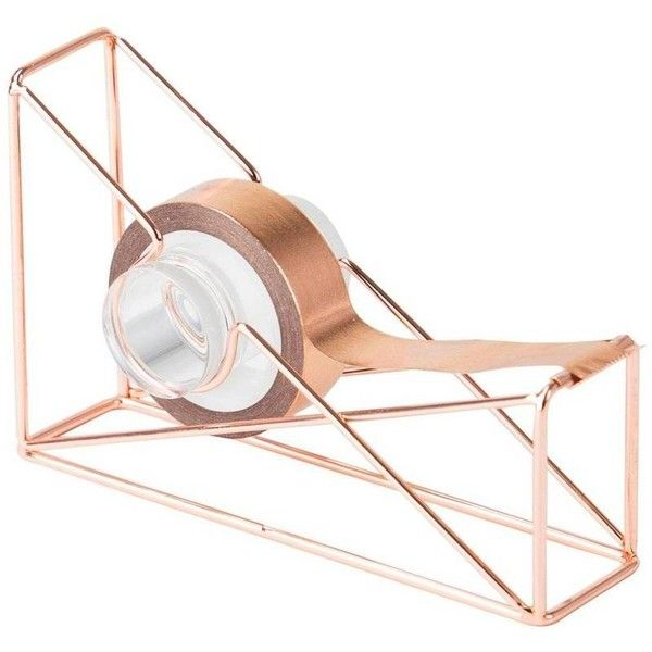 U Brands Tape Dispenser Copper By ($13) ❤ liked on Polyvore featuring home, home decor, office accessories, office supplies, desktop file organizer, filing trays, copper tray and desk file organizer