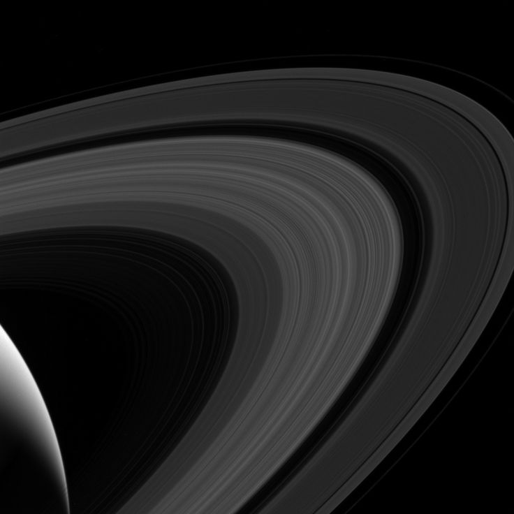 Saturn's rings : This view looks toward the sunlit side of the rings from about 19 degrees above the ringplane. The image was taken in visible light with the Cassini spacecraft wide-angle camera on April 10, 2017.  The view was obtained at a distance of approximately 680,000 miles (1.1 million kilometers) from Saturn and at a sun-Saturn-spacecraft, or phase, angle of 128 degrees. Image scale is 43 miles (69 kilometers) per pixel. (Credit: NASA/JPL-Caltech/Space Science Institute)
