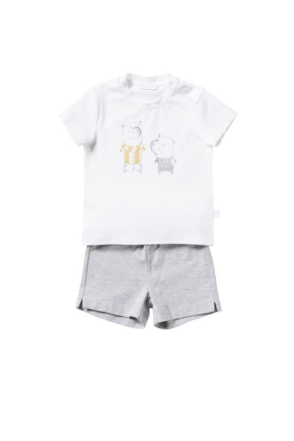 Italian Luxury TWO-PIECE OUTFIT IN WHITE AND GREY JERSEY WITH PIGLETS   Il Gufo