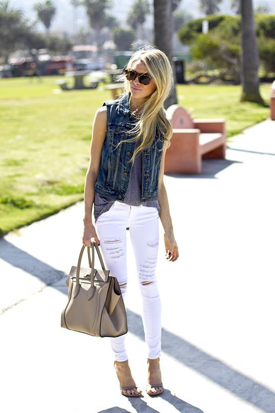 Casual Outfit 03 • Denim Vest with Tank Top inside • White Ripped Jeans