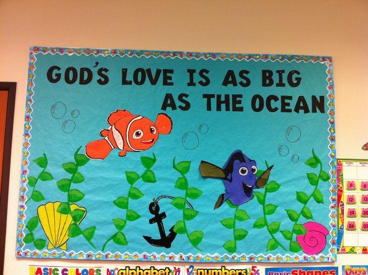 Summer Church Bulletin Boards   Summer bulletin board/Gods love just use star fish and crabs and fish
