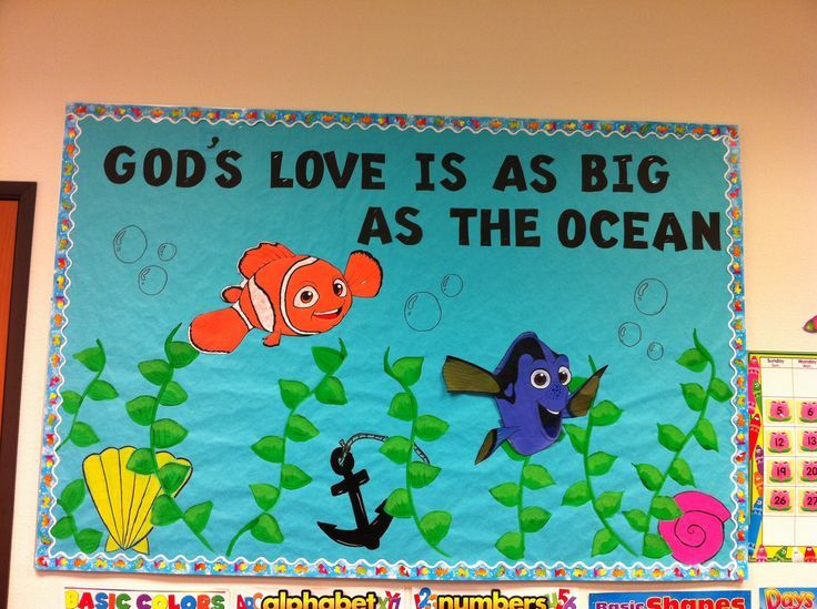 Summer Church Bulletin Boards | Summer bulletin board/Gods love just use star fish and crabs and fish