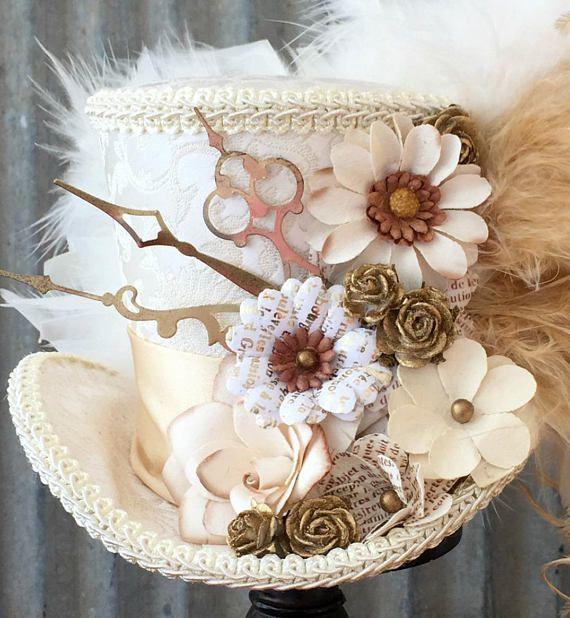 Mini chapeau haut de forme mariée Mini Top hat Ivoire et Off
