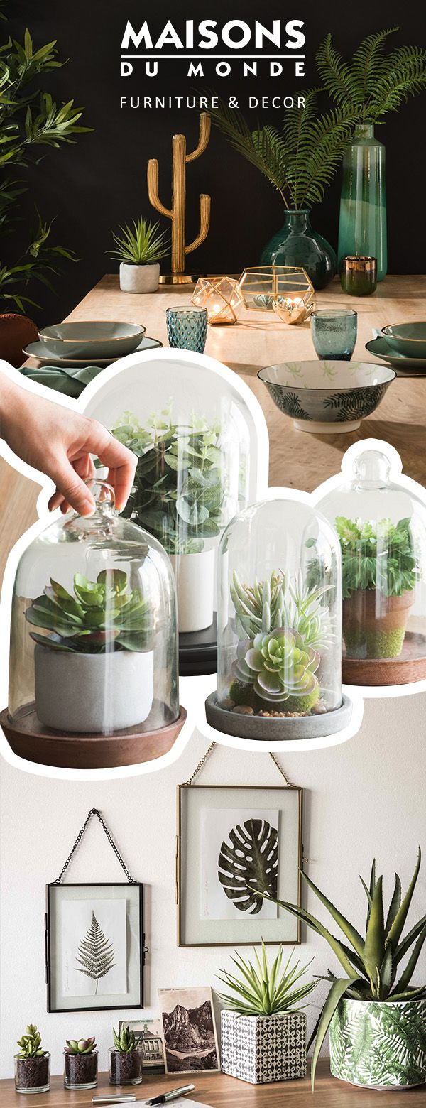 Greenery is on trend: Decorate your home with leaves, including succulents, tropical leaves, ferns and more. Interior greenery is undoubtedly one of the quickest and easiest ways to liven up your decor. Discover the greenery edit! | Maisons du Monde