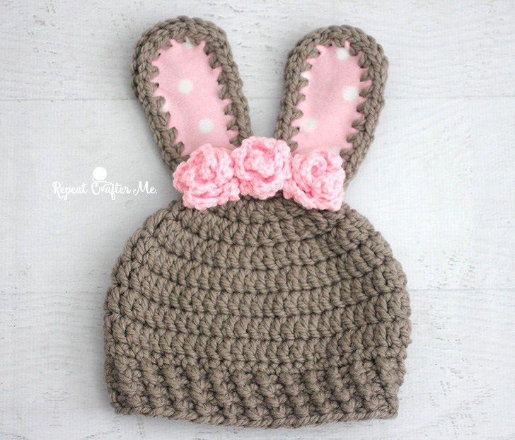 It's basically spring but I know a lot of you are still have heavy winter weather. This chunky bunny crochet hat will keep those heads warm! Made with Bernat Softee Chunky yarn that is soft and makes