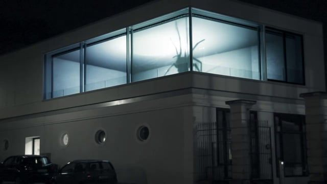 Projection mapping on a building in Saarbruecken, Germany. Two small spiders were put in a small scale model of the building, filmed from the viewers perspective and then projected from the inside onto the windows.