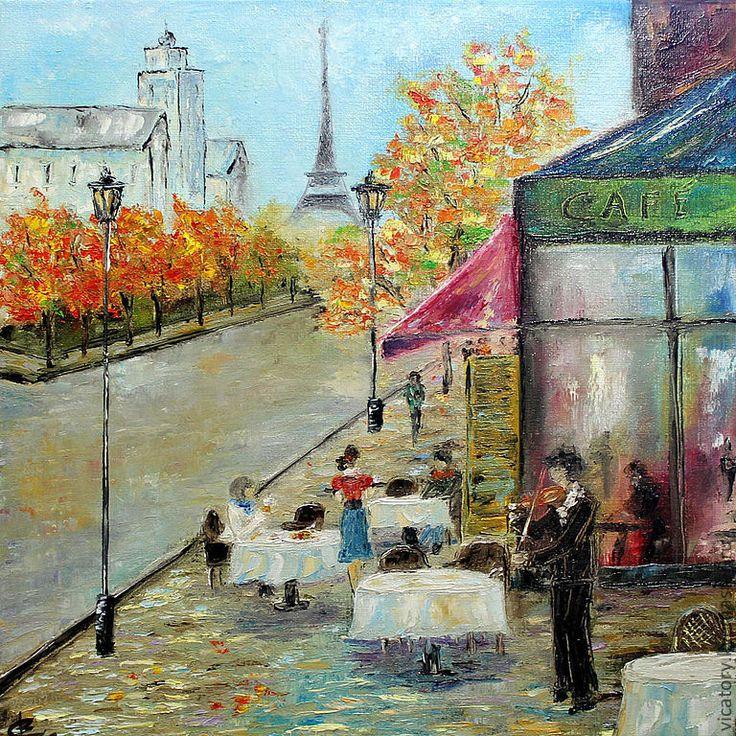 """Картина масло """"Осень в Париже"""" - оранжевый,золотой,зеленый,осень,Париж"""