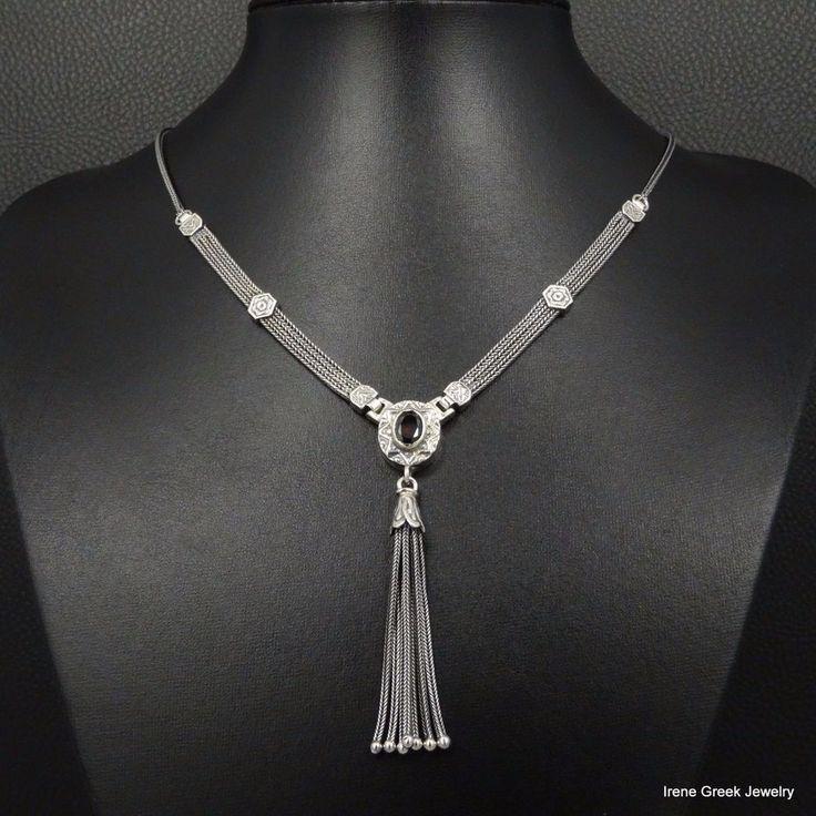 NATURAL GARNET ETRUSCAN STYLE 925 STERLING SILVER GREEK HANDMADE ART NECKLACE #IreneGreekJewelry #Chain