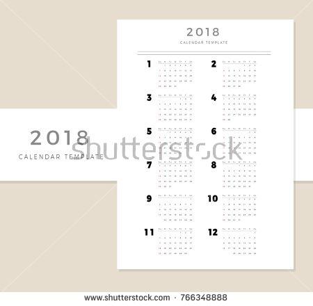 2018 Vector Calendar Template, 2018 Simple Planner, New Year Schedule Calendar, Minimal Stationery, Yearly Calendar