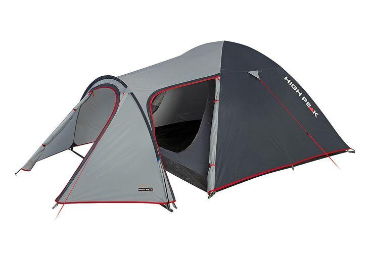 High Peak Zelt, 4 Personen, »Kira 4«. Dieses Doppeldach-Kuppelzelt mit Tunnelvorbau glänzt durch mehr Bewegungsfreiheit dank eines Seiten- sowie eines Haupteinganges in D Form. Gepäck und Campingausrüstung können bequem im Vorbau untergebracht werden. Das Innenzelt ist durch den dritten Gestängebogen wettergeschützt. Innenzelttaschen für Utensilien und ein Lampenhalter für eine Campingleuchte o...