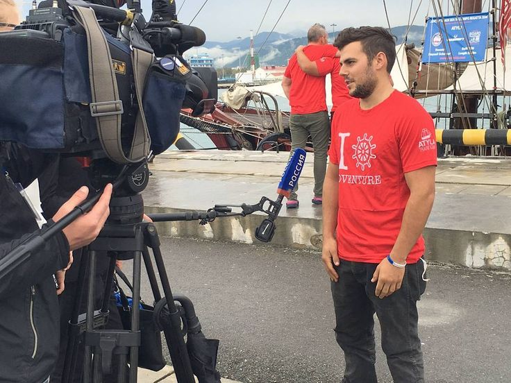 Atyla's captain speaking on the Russian TV channel 1 in the Black Sea Regatta last summer and wearing his Official ATYLA T-shirt. #Style #Swag #Media #Press #Interview #TallShipsRaces