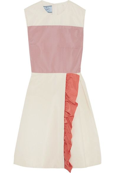 Prada | Color-block ruffled silk-faille mini dress | NET-A-PORTER.COM