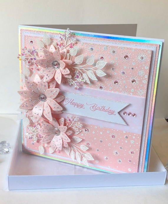 Luxury Handmade Pink Boxed Birthday Card Etsy Luxury Birthday Cards Boxed Birthday Cards Birthday Cards