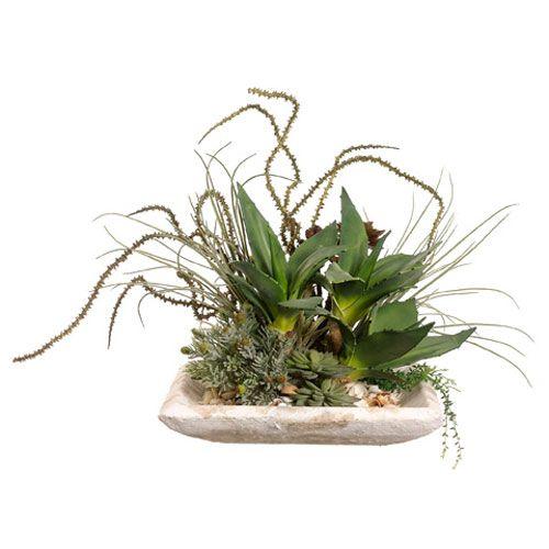Green Succulents Silk Flower Arrangement on Coffee Cement