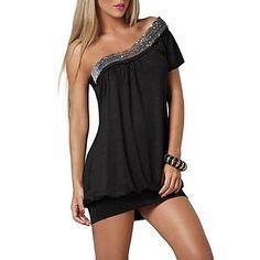 xixiangyi vestido de una sola de algodón hombro y spandex sexy ® de la mujer – USD $ 18.89