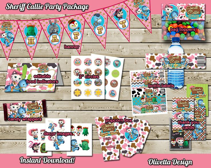 Lots of items to choose from in the shop, not just this package //// Sheriff Callie Birthday Party Package - INSTANT DOWNLOAD - Printable Party Kit Banner Food Tent Labels Thank you card Birthday Party Package by OlivettaDesign on Etsy https://www.etsy.com/listing/207297822/sheriff-callie-birthday-party-package