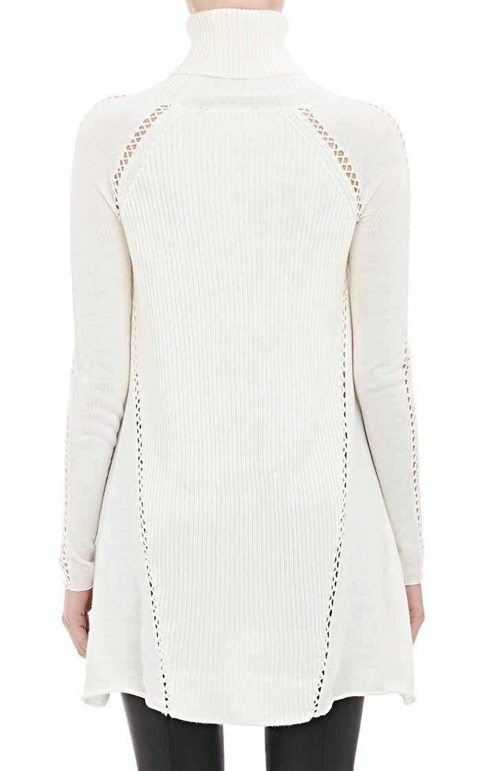 Mixed-Knit Turtleneck Sweater